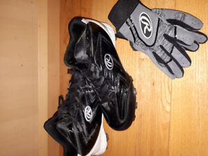 EUC Baseball cleats size 9 and Batters gloves