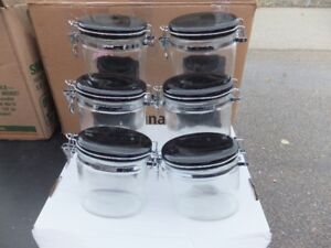 FOR SALE 6 Glass Storage Containers with glass tops for food (3