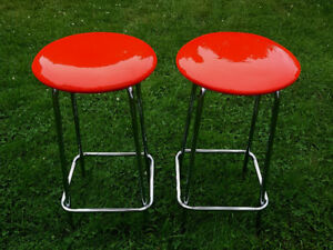 Red kitchen/bar stools, retro style with chrome frames