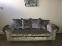 2x 3 seater crushed velvet couches
