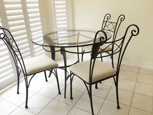 Thick Glass/Metal table with 4 chairs