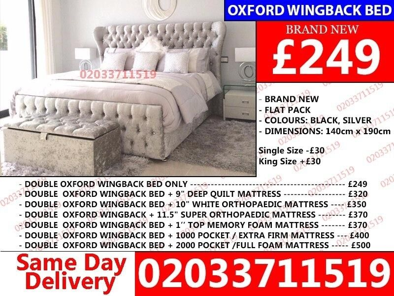 Brand New Double KingSIZE Crushed Designer Atlanta BedSan Marcosin Chadwell Heath, London - wow today 50%off For Placing An Order Please Call