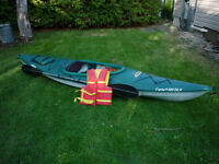 12 ft Pelican Kayak with paddles and life jacket $300