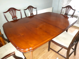 Dining room furniture - table + 6 chairs + tall & small cupboards