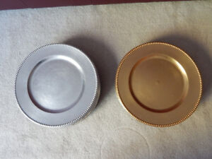 """CHARGER PLATES - 2 SETS OF 8 - 13"""" - GOLD & SILVER"""