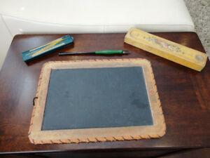 Antique School Slate, Slide Rule Tin Box, Wood Pen Box & Pen