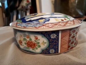 miyako handcrafted japanese imari ware covered dish