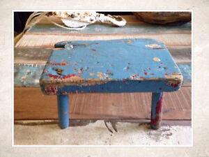Petit banc antique patine bleu #997