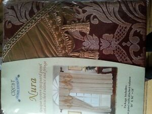 $40.00 (New) Curtains Burgundy and Gold