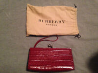 Burberry London Red Crocodile Clutch 100% Authentic