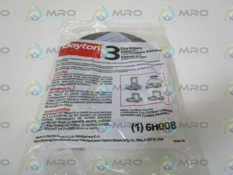 DAYTON 3 DRY FILTERS 6H008 * NEW IN FACTORY BAG *