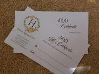 100$ Haven salon and spa gift certificates 80$ each