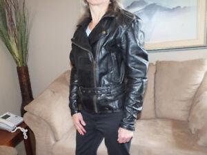 Rhyno heavy leather ladies motorcycle jacket