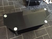 Black glass corner TV stand (also selling matching side table)