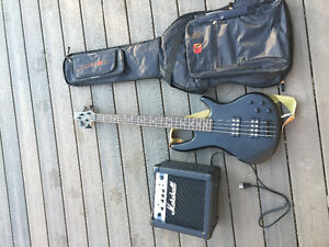 Ibanez Bass Guitar and Marshall Amp
