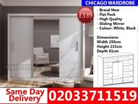 Brand New Chicago250cm Wide Sliding Mirror Wardrobe get your order today Marshall