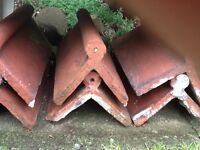 6 Old style red roll top ridge roof tiles