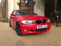 BMW 118 M-sport 3 door hatchback 2008 stunning and very rare imola red with half leather interior
