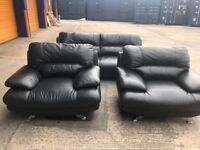 Harveys black leather 3 seater and two arm chairs
