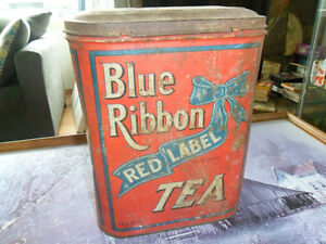 blue ribbon tea tin