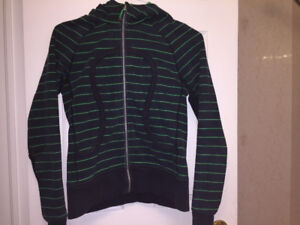 Black and Green Striped Lululemon scuba hoodie size 8-10