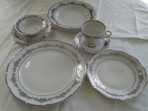Fine Porcelain China - with Platinum - 8 Settings