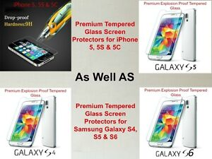 Glass Protectors iPhone 5 6 6+ Samsung S5 S6 S7 S7Edge iPad mini