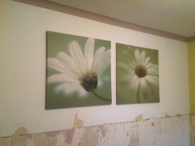 2 x Next floral canvasses