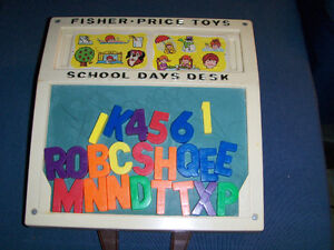1972 FISHER PRICE SCHOOL DAYS DESK WITH LETTERS-VINTAGE