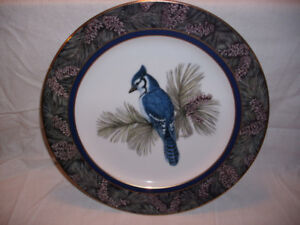 Whispering Pines - Blue Jay plate by Christine Marshall