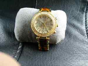 Ladies boyfriend bling watch tortoise gold tone