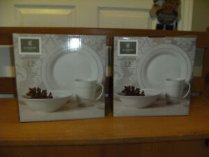 Brand New White Dishes for 8 and 8 beer glasses