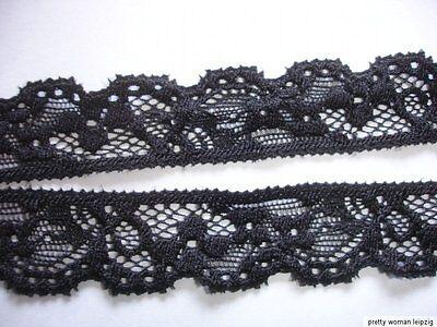 10 Lfm  elastische Spitze 0,50€/m schwarz 2,2cm breit AO76