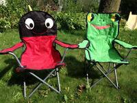 Pair of Kids Camping / Outdoor Chairs, Ladybug and Frog