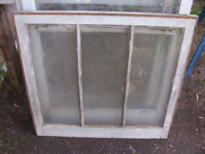 Antique 3 Pane Window 32 by 29