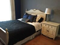 Queen bedroom set: bed frame +mattress + stand + dresser