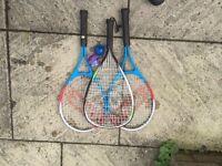 Two kids slazenger tennis rackets and good quality Dunlop Racketball racket and ball - £9 the lot