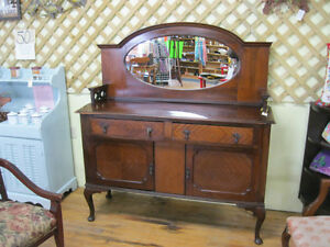 Unique Early Sideboard Buffet w/ Mirror London Ontario image 2