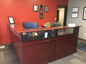 Reception desk with laterial filing cabinet