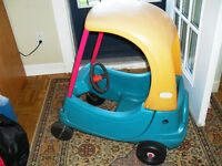 jouet  auto little tike tricyle  poignee   tricycle  metal