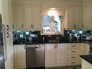 Armoires de cuisine en érable laquées et comptoirs de granit