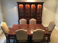 Ridpaths Dining table, 8 chairs, credenza and hutch
