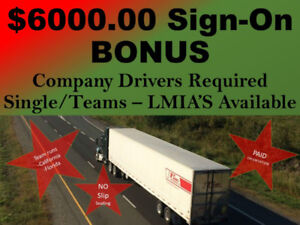 $6000  Sign-On Bonus - Company Drivers - Scheduled Runs -LMIA's