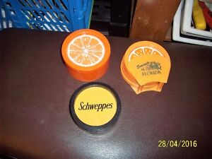 vintage drink citrus coasters from the 50's,vintage schweppes