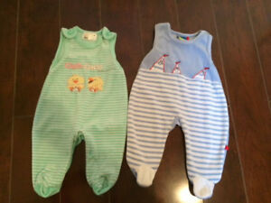 Two Baby Overalls, Size 1-2 months