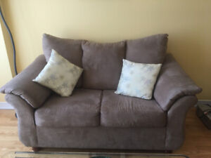 Brown Suede Loveseat