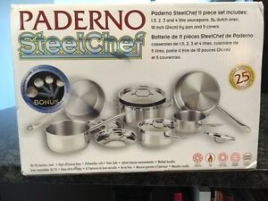 Paderno SteelChef 11 piece stainless steel cookware set Cambridge Kitchener Area image 2