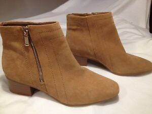 New Alex Marie Tan Suede Leather Side Zip Ankle Boots size 11