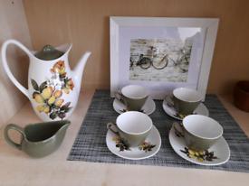 Midwinter Stylecraft Riverside 60s Coffee Set,Pot,Jug,Cups.