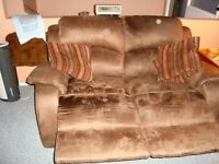 2 years old micro suede reclining sofa and love seat